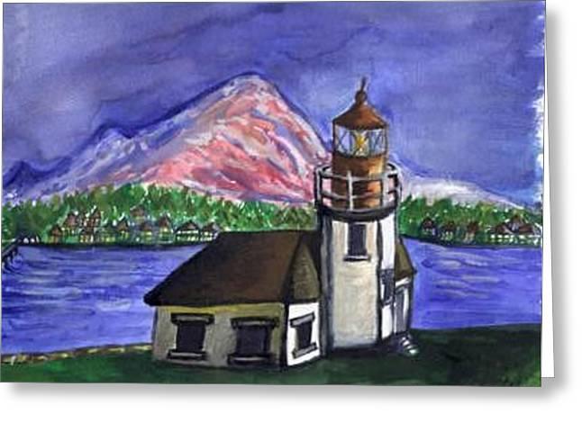 Lighthouse Greeting Card by Caroline Lifshey