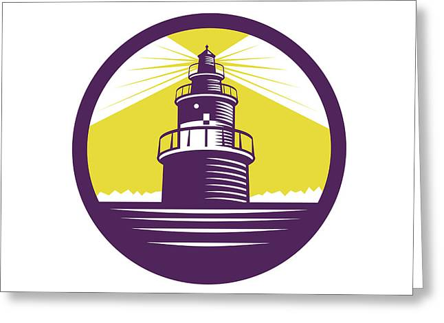 Lighthouse Circle Woodcut Greeting Card by Aloysius Patrimonio