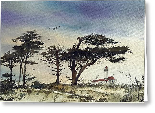 Greeting Card featuring the painting Lighthouse Coast by James Williamson