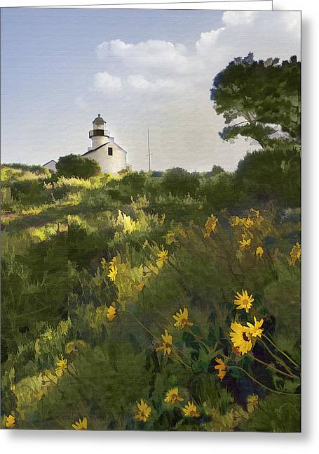 Lighthouse Daisies Greeting Card by Sharon Foster