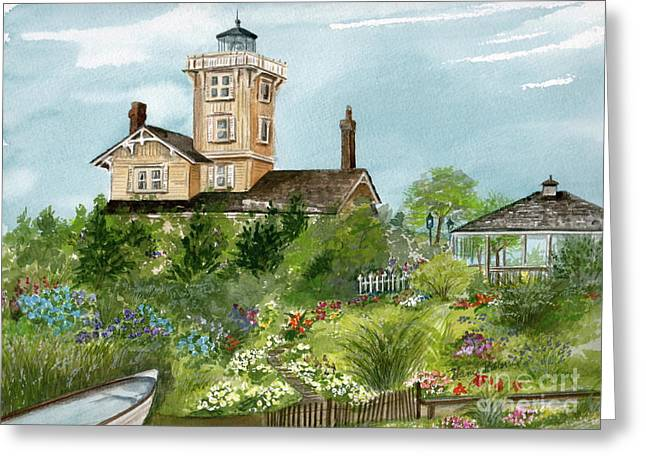 Greeting Card featuring the painting Lighthouse Gardens  by Nancy Patterson
