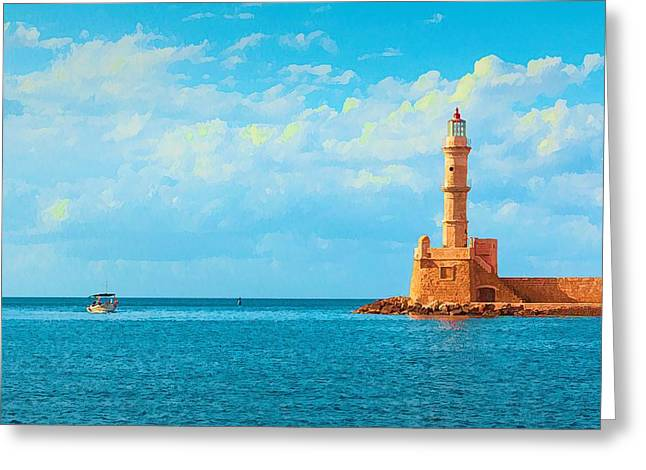 Lighthouse In Greece Greeting Card