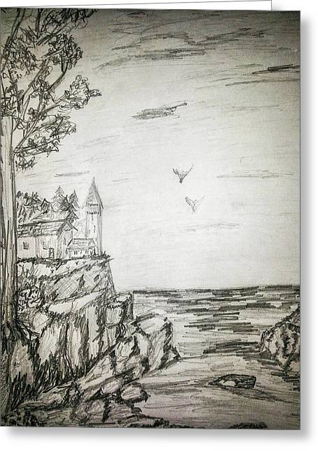 Lighthouse In Maine Greeting Card by Carlene Harris