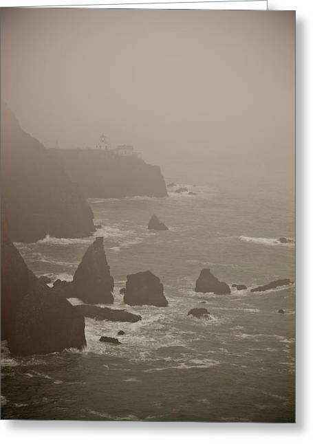 Lighthouse In The Fog Greeting Card by Patrick  Flynn