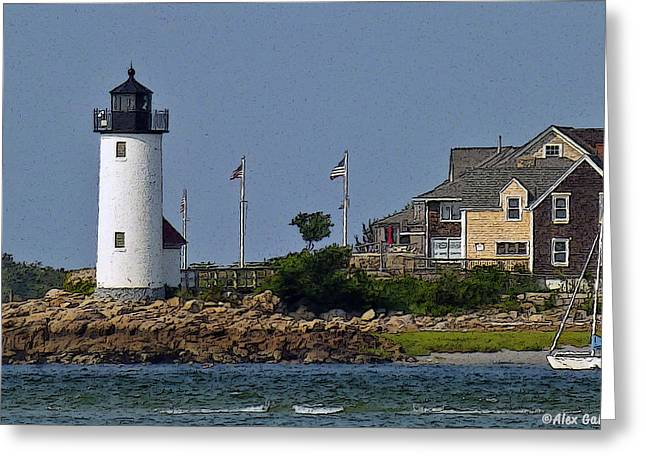 Lighthouse In The Ipswich Bay Greeting Card