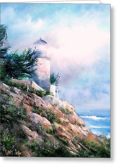 Lighthouse In The Mist Greeting Card by Sally Seago