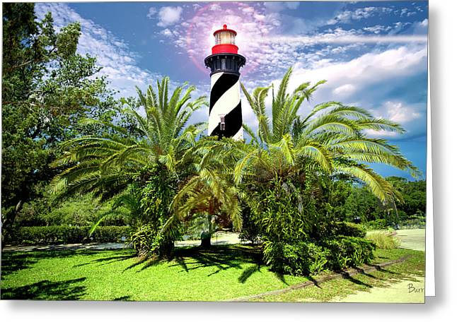 Lighthouse In The Palms Greeting Card