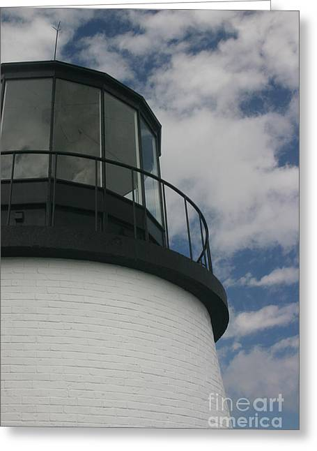 Lighthouse In The Sky Greeting Card by Dennis Curry