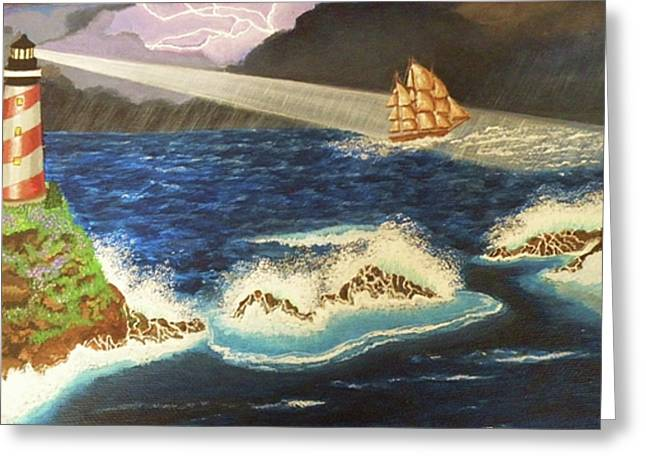 Lighthouse In The Storm Greeting Card