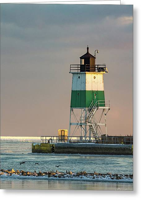 Lighthouse In The Sunset Greeting Card