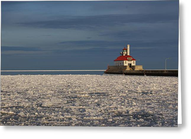 Greeting Card featuring the photograph Lighthouse In Winter by Ron Read