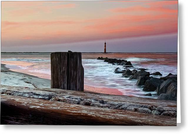 Lighthouse Jetties Greeting Card by Drew Castelhano