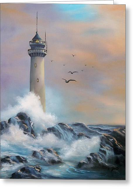 Greeting Card featuring the painting Lighthouse by Joni McPherson