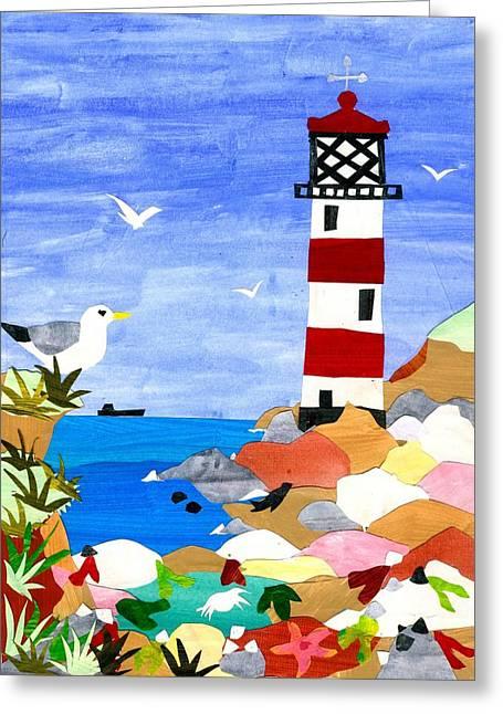 Lighthouse Greeting Card by Judy Adamson