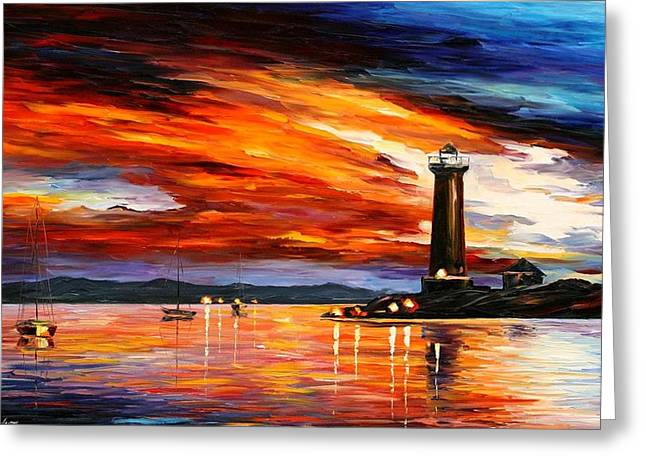Lighthouse Greeting Card by Leonid Afremov