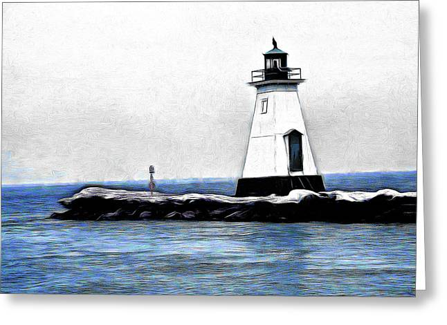 Lighthouse Greeting Card by Leslie Montgomery