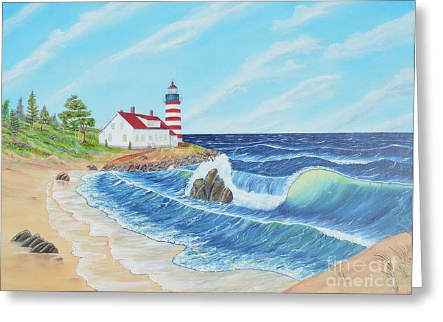 Greeting Card featuring the painting Lighthouse Life by Mary Scott