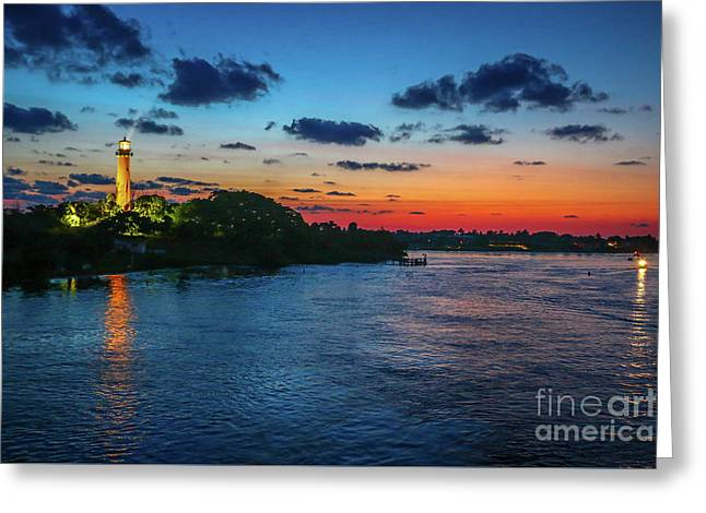 Lighthouse Light Beam Greeting Card by Tom Claud