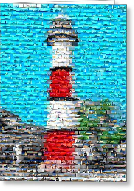Lighthouse Made Of Lighthouses Mosaic Greeting Card by Paul Van Scott