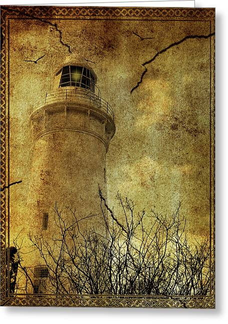 Greeting Card featuring the digital art Lighthouse by Margaret Hormann Bfa