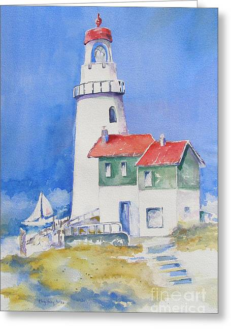 Greeting Card featuring the painting Lighthouse by Mary Haley-Rocks