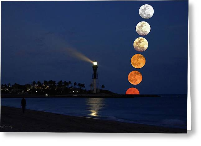 Lighthouse Moon Color Phases Greeting Card