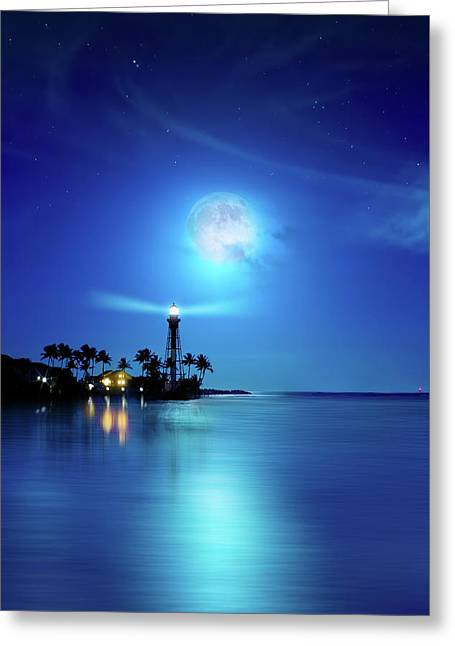 Lighthouse Moon Greeting Card