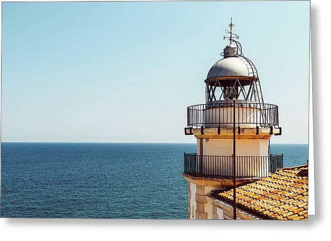 Lighthouse Of Papa Luna Castle In Peniscola, Spain Greeting Card by Radu Bercan
