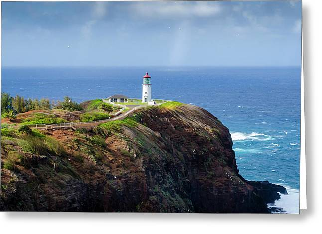 Lighthouse On A Cliff Greeting Card