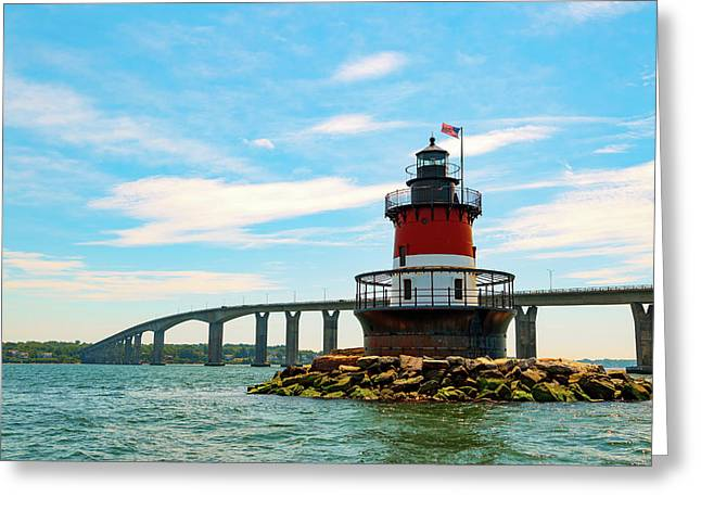 Lighthouse On A Small Island Greeting Card