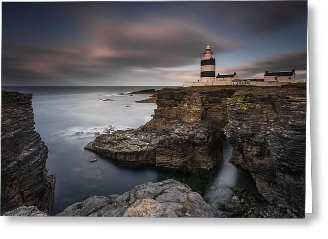 Lighthouse On Cliffs Greeting Card by Grzegorz Wanowicz