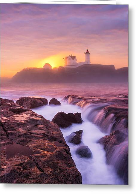 Lighthouse On Fire Greeting Card by Michael Blanchette