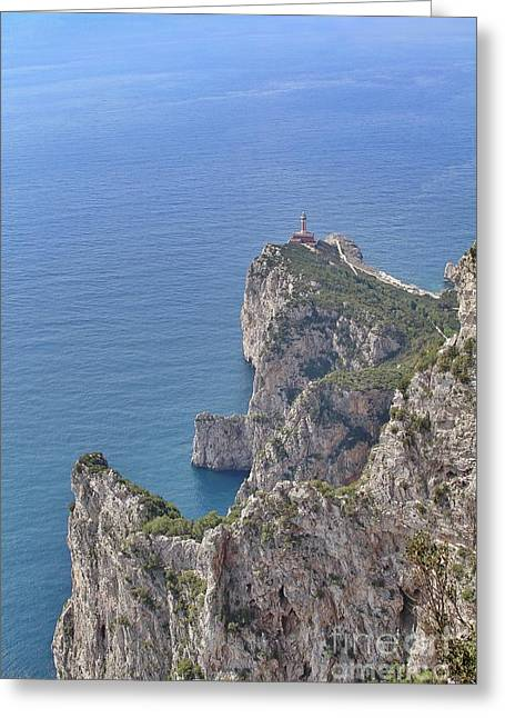 Lighthouse On The Cliff Greeting Card
