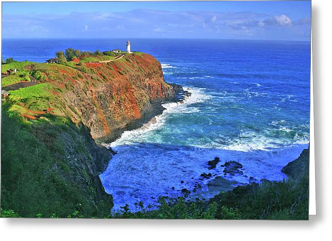 Lighthouse On The Hill Greeting Card by Scott Mahon