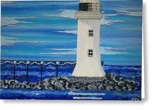 Greeting Card featuring the painting Lighthouse On The Shannon by Carolyn Cable