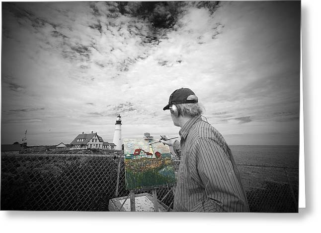 Lighthouse Painter Greeting Card