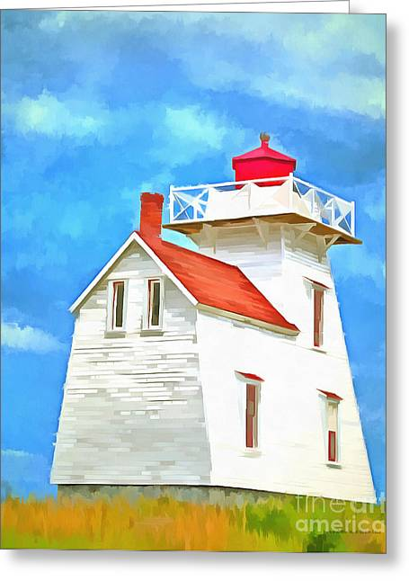 Lighthouse Painting Greeting Card by Edward Fielding