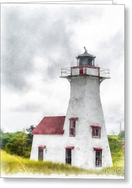 Lighthouse Prince Edward Island Watercolor Greeting Card by Edward Fielding