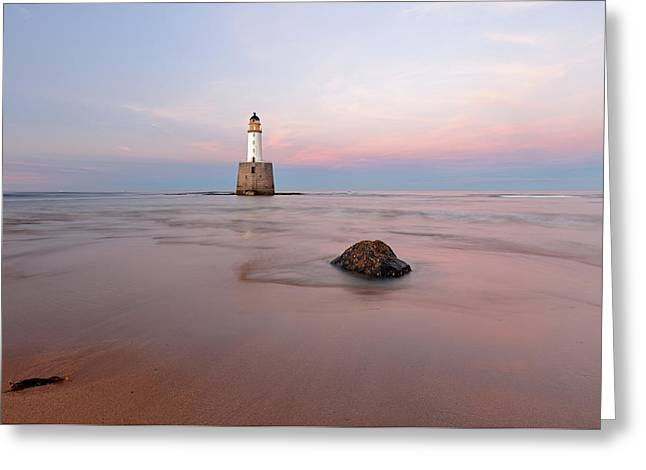 Greeting Card featuring the photograph Lighthouse Sunset Rattray Head by Grant Glendinning