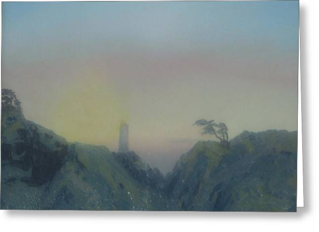 Lighthouse Greeting Card by Rebecca  Fitchett