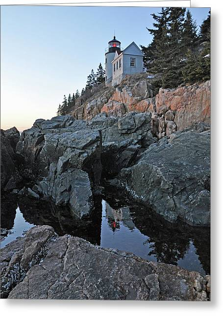 Greeting Card featuring the photograph Lighthouse Reflection by Glenn Gordon