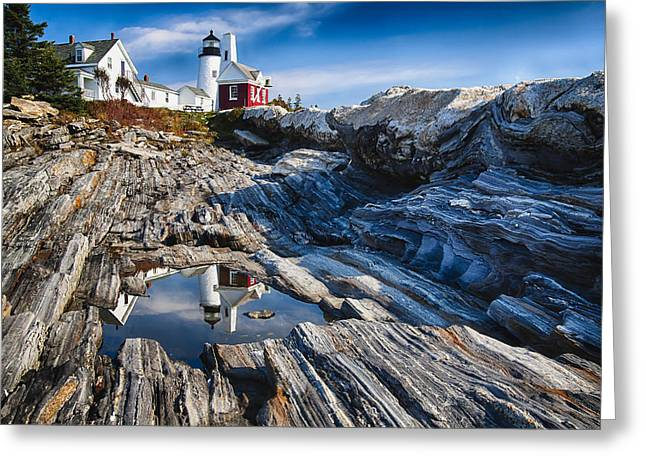 Rocky Shorelines Greeting Cards - Lighthouse Reflections Greeting Card by George Oze