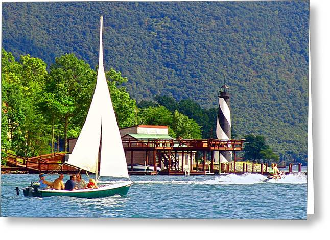 Lighthouse Sailors Smith Mountain Lake Greeting Card by The American Shutterbug Society