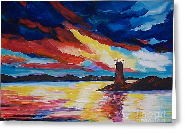 Greeting Card featuring the painting Lighthouse Storm by Leslie Allen