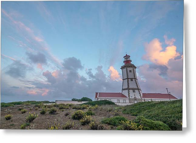 Lighthouse Sunrise At Cape Espichel Greeting Card