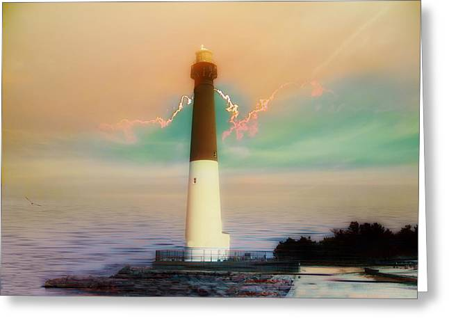 Maine Lighthouses Digital Greeting Cards - Lighthouse Sunrise Greeting Card by Bill Cannon