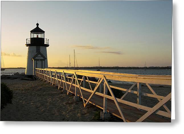 Lighthouse Sunrise Greeting Card by Mark Siciliano