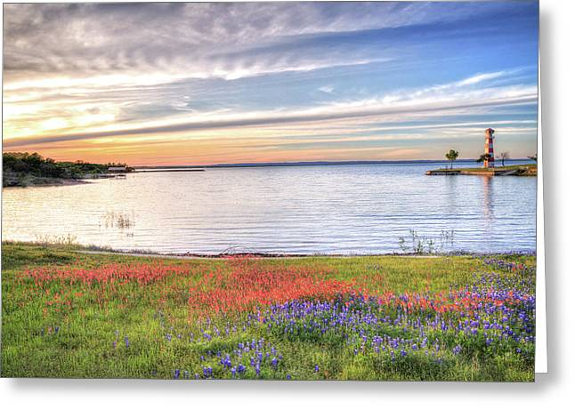 Lighthouse Sunset At Lake Buchanan Greeting Card