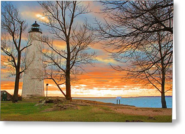 Lighthouse Sunset Greeting Card by Cathy Leite Photography