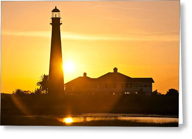 Lighthouse Sunset Greeting Card by John Collins